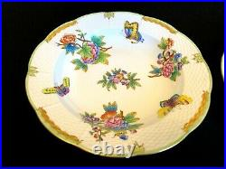 Herend Porcelain Handpainted Queen Victoria Soup And Dinner Plates 503/524/vbo