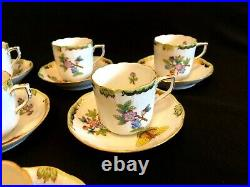 Herend Porcelain Handpainted Queen Victoria XL Coffee Cups And Saucers 708/vbo
