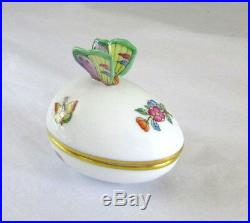 Herend Porcelain Queen Victoria Egg Covered Box Butterfly Finial