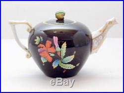 Herend Porcelain Tea Pot Miniature Queen Victoria on Black Background