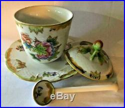 Herend PorcelainQUEEN VICTORIA LIDDDED MUSTARD POT ATTACHED PLATE+SPOON Mint