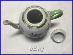 Herend QUEEN VICTORIA (GREEN BORDER) 1604 TEA POT WithROSE