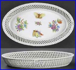 Herend QUEEN VICTORIA (GREEN BORDER) 7375 Oval Open Weave Basket 8836424