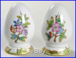 Herend QUEEN VICTORIA (GREEN BORDER) Salt & Pepper Set With Stoppers 9304321