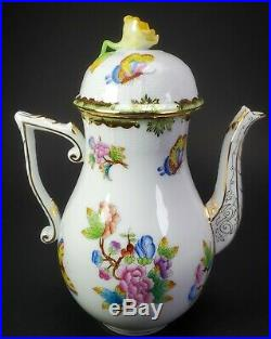Herend QUEEN VICTORIA SMALL COFFEE POT WITH YELLOW ROSE FINIAL LID 612/VBO