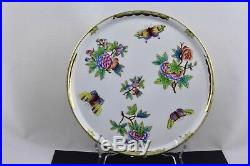 Herend Queen Victoria 10 Round Tray Green And Gold Trim Mint