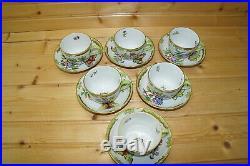 Herend Queen Victoria (6) Mocha Cups, 2 & (6) Saucers, 4 3/8
