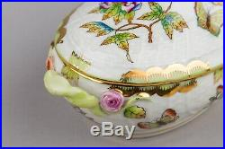 Herend Queen Victoria Bonbon Candy Box with Yellow Rose Finial #6014/VBO