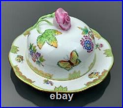 Herend Queen Victoria Butter Dish With Lid RARE Rose Finial Mint Condition