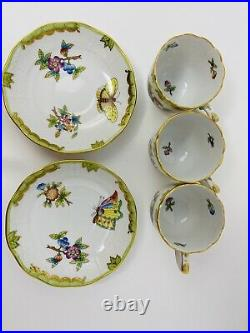 Herend Queen Victoria Coffee Cups And Saucers + Creamer #709 Cups BRAND NEW