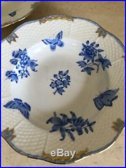 Herend Queen Victoria Fortuna Blue VBOB Rimmed Soup Bowls Set Of 2! (G)