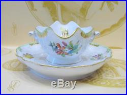 Herend Queen Victoria Gravy Boat With Attached Saucer, Mint Condition, Free Ship