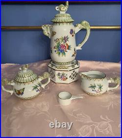 Herend Queen Victoria Green Border VBO Rare Lizard Handle Coffee / Tea Set of 5