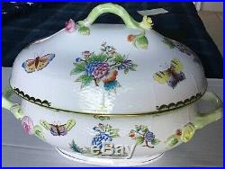 Herend Queen Victoria Green Soup Tureen 13 Butterflies Flowers Hungary Branch