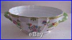 Herend Queen Victoria H. P. Green & Gilted Border Covered Tureen WithBranches