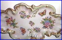 Herend Queen Victoria Hand Painted Large Serving Plate Butterflies Flowers