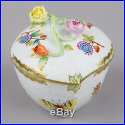 Herend Queen Victoria Heart Shaped Bonbon Candy Box with Roses #6000/VBO