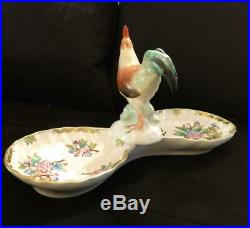 Herend Queen Victoria Large Relish Dish with Rooster Handle VERY RARE! #7530