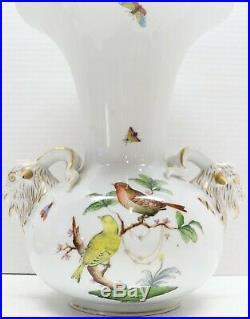 Herend Queen Victoria Large Vase with Rams Head Handles #6657