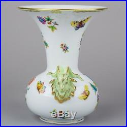 Herend Queen Victoria Large Vase with Rams Head Handles in Original Box #6657