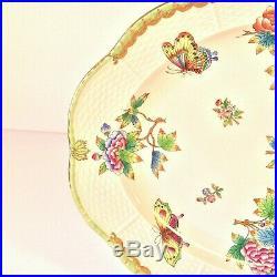 Herend Queen Victoria Oval Platter 14.25 Flowers Butterflies Green Border