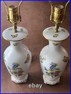 Herend Queen Victoria Pair of Lamps in the Basket Weave Pattern