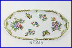 Herend Queen Victoria Pattern Green Border 12 1/2 Sandwich Dish / Tray