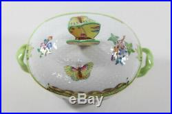Herend Queen Victoria Pattern Green Border Sugar Bowl & Lid with Butterfly Finial