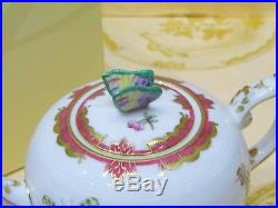 Herend Queen Victoria Pink Border Teapot, Butterfly LID End, Brand New Boxed, Rare