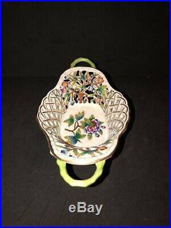 Herend Queen Victoria Reticulated Two Handled Basket
