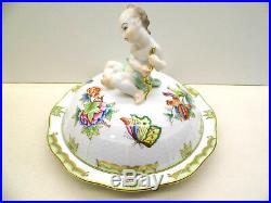 Herend Queen Victoria Round Covered Dish Putti Finial, Brand New Boxed, Very Rare