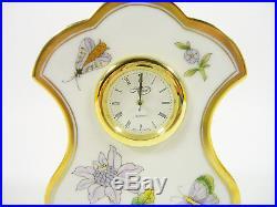 Herend, Queen Victoria Royal Garden (evict1)shelf Clock, Handpainted Porcelain