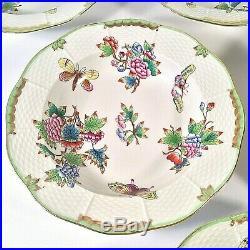Herend Queen Victoria Set 6 Soup Salad Pasta Bowls Deep 9.25 Butterflies Floral