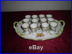 Herend Queen Victoria Shot Schnaps Brandy set for 12 serving plate porcelain VBO