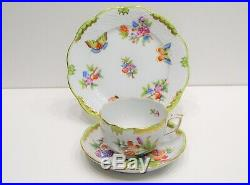 Herend Queen Victoria Tea Cup With Saucer And dessert plate, VBO design. 3pcs