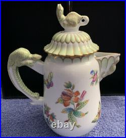 Herend Queen Victoria VBO Rare Lizard Handle Coffee/Tea Set of 5