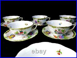 Herend Queen Victoria VBO Tea Cups and Saucers for 6 persons