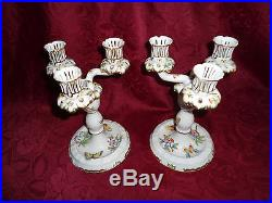 Herend Queen Victoria VBO Three winged candle holder pair porcelain