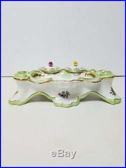 Herend Queen Victoria Vintage Inkwell With Green and 24k Gold Trim VERY RARE
