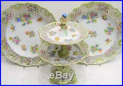 Herend Queen Victoria- Wall Plate And Two Level Openwork Fruit Stand VBO Design