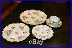 Herend Queen Victoria (green Border) Vbo 5 Piece Place Setting Excellent
