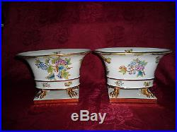 Herend Queen victoria Nail Vase pair porcelain VBO
