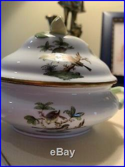 Herend Small Covered Tureen Dish with Lemon Queen Victoria Pattern (Hungary)