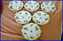 Herend handpainted 6 pc dessert plates Queen Victoria VBO pattern 7 wide
