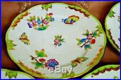 Herend handpainted 7 pc dessert set Queen Victoria VBO pattern
