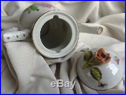 Hungarian Antique Herend Tertia white porcelain Coffee Pot handpainted marked