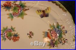 Large HEREND Queen Victoria Butterflies Flowers Oval Platter 1102 15 X 11