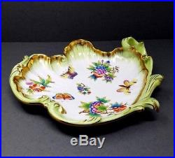 Large Herend Queen Victoria Rococo Wave Bowl Porcelain Shell Hungary Signed Vtg
