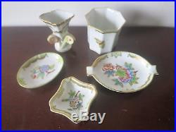 Lot Of Herend Queen Victoria Porcelain Ashtray Vase Cup Dishes Y413