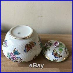 Lovely Herend Queen Victoria Ginger Jar Basketweave Pattern